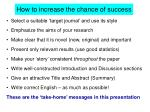 how to increase the chance of success