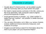 keywords or phrases