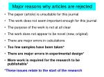major reasons why articles are rejected
