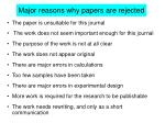 major reasons why papers are rejected