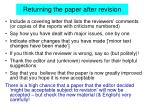 returning the paper after revision