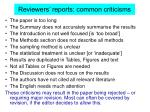 reviewers reports common criticisms