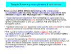 sample summary noun phrases verb tenses