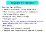the editor s first impressions