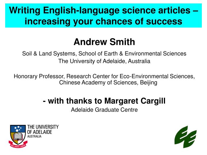 writing english language science articles increasing your chances of success n.
