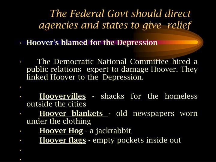 the federal govt should direct agencies and states to give relief n.