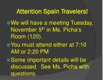 attention spain travelers