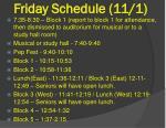 friday schedule 11 1