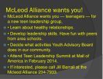 mcleod alliance wants you