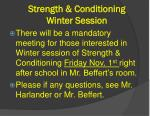 strength conditioning winter session