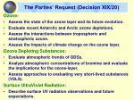 the parties request decision xix 20