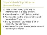 caryn medved s top 10 list on literature reviews