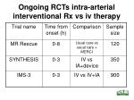 ongoing rcts intra arterial interventional rx vs iv therapy