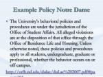 example policy notre dame
