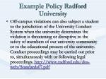 example policy radford university