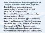 issues to consider when determining policy for off campus jurisdiction linda rowe asja 2002