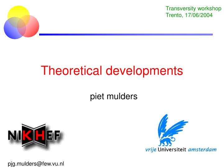 theoretical developments n.