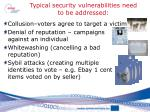 typical security vulnerabilities need to be addressed