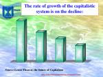 the rate of growth of the capitalistic system is on the decline