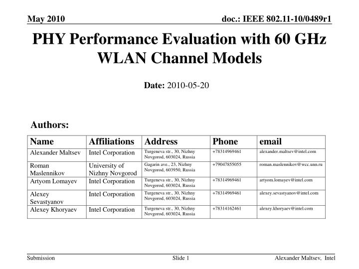 phy performance evaluation with 60 ghz wlan channel models n.