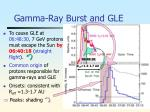 gamma ray burst and gle