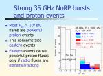 strong 35 ghz norp bursts and proton events