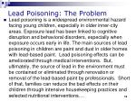 lead poisoning the problem