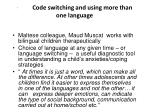 code switching and using more than one language