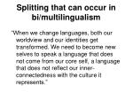 splitting that can occur in bi multilingualism