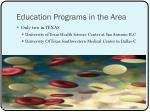 education programs in the area