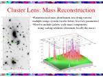 cluster lens mass reconstruction