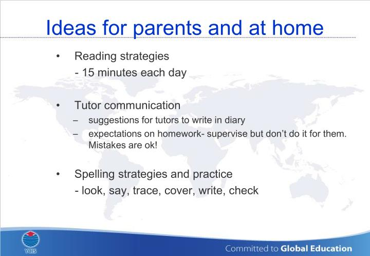 Ideas for parents and at home