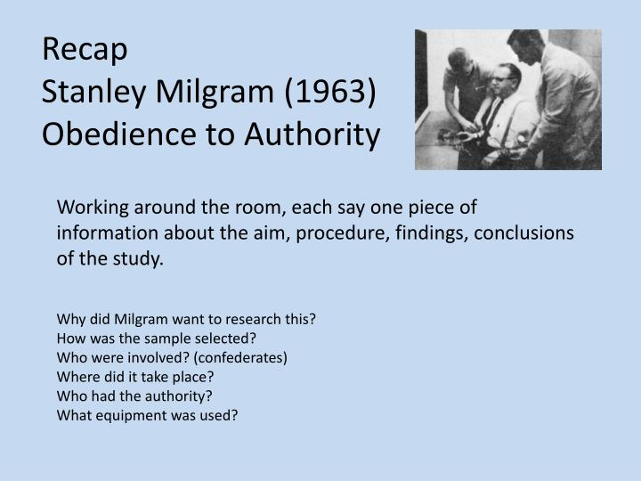 stanley milgram informative speech Dr stanley milgram designed an experiment where normal individuals were asked by a researcher to give increasingly intense electric shocks to a subject each time they gave the wrong answer to a question the highest level of shock had the potential of killing the subject how far would volunteers.
