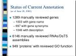 status of current annotation as of june 20 2002