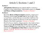 article i sections 1 and 2