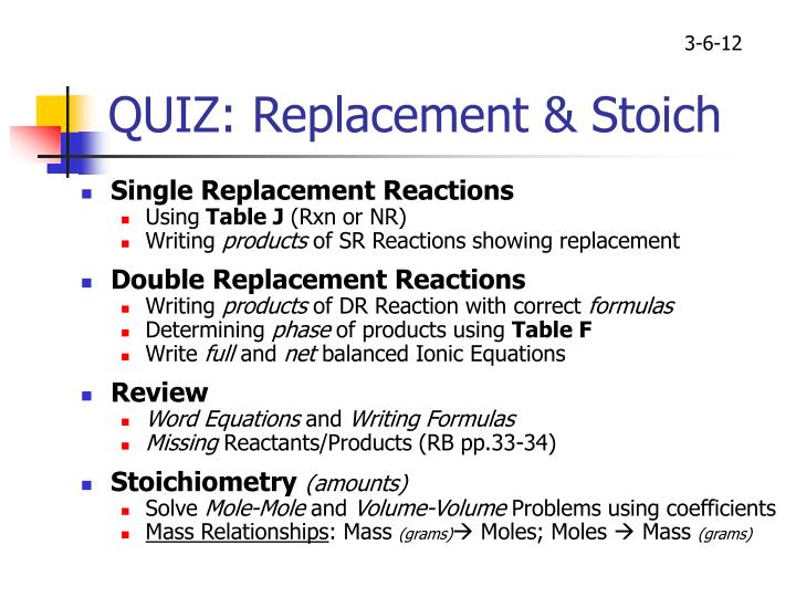 quiz replacement stoich n.