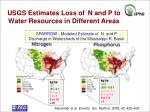 usgs estimates loss of n and p to water resources in different areas
