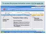 to access the process transaction screen click the quick link