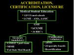 accreditation certification licensure