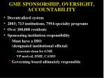 gme sponsorship oversight accountability