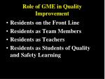 role of gme in quality improvement
