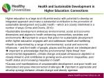health and sustainable development in higher education connections