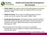 health and sustainable development key concepts