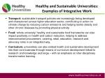 healthy and sustainable universities examples of integrative work