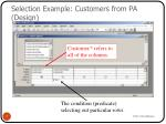 selection example customers from pa design