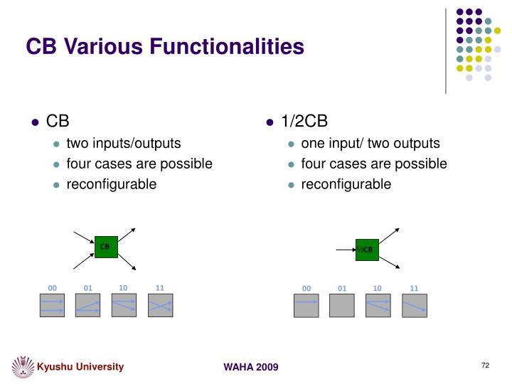 CB Various Functionalities