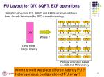 fu layout for div sqrt exp operations