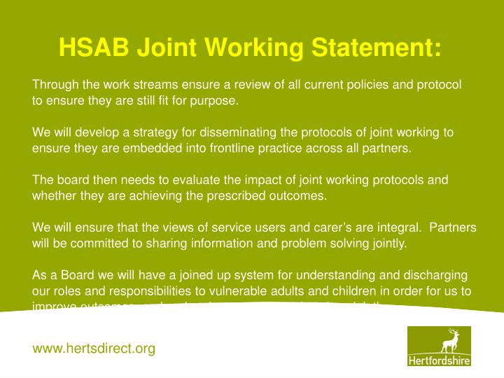 HSAB Joint Working Statement: