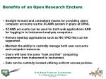 benefits of an open research enclave