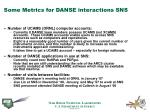 some metrics for danse interactions sns